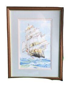 Mixed media painting of a Tall Ship under full sail.