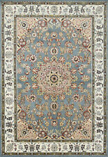 Fine Nain 6'x8' Blue Wool Hand-Knotted Oriental Rug