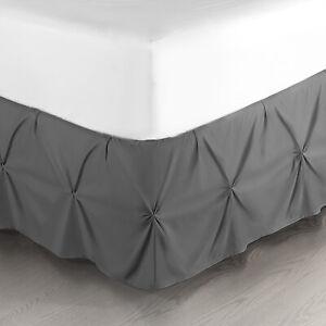 "Pinch Pleat Bed Skirt Premium Luxury Dust Ruffle 14"" Drop Hotel Quality"