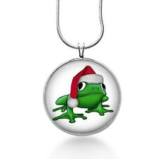 Christmas Frog Pendant Necklace, Holiday Pendant, fashion jewelry, gifts