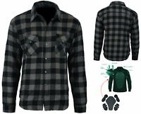 Bikers Gear Kevlar® Lined Flannel Lumberjack Motorcycle Shirt Dark Grey Flanny