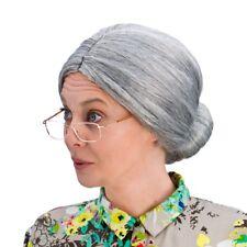 adulte DAMES court gris vieille mamie grand-mère chignon Perruque Déguisement