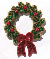 Vintage 1980s Large Christmas Wreath Beaded Sequined Applique Sew On Craft Patch