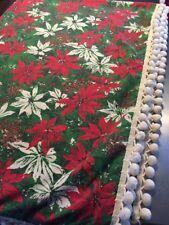 Vintage Christmas Rectangular Tablecloth 52x76 Poinsettia w/ White Pom Pom Trim