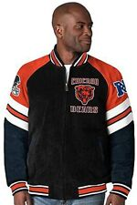 Chicago Bears OFFICIAL NFL SUEDE & LEATHER COLORBLOCKED JACKET Coat NEW XL GIII
