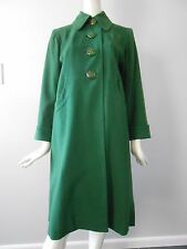 Vintage 1940's Forest Green Swing Coat with Carved Apple Juice Bakelite Buttons