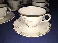 Royal Doulton Monteigne Gold Scroll Footed Cups & Saucers (9 Sets) ~ England