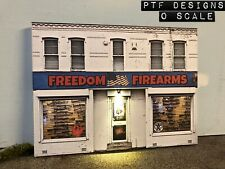 "O Scale Scratch Built ""FREEDOM FIREARMS"" 🇺🇸🔫 GUN SHOP Building Flat w/LED MTH"