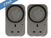 2 PACK 24 Hour Segment Time Switch Energy Saver 24hr Mains Plug In Timer Socket