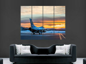 F16 FALCON FIGHTER JET POSTER PLANE USA SUNSET AIRPORT ART HUGE LARGE GIANT