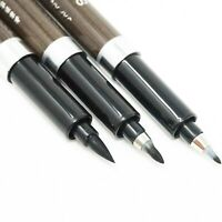 NEW Japanese 3 Size Calligraphy Pens Black Tombow Brush Set Fine, Med, Broad -UK