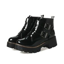 Women Patent Leather Motorcycle Boots Buckle Punk Ankle Booties Block Heel Shoes