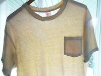 XL Vtg 90s Hanes Pale Tan Faded Distressed Thrashed Single Stitch Skate T-Shirt