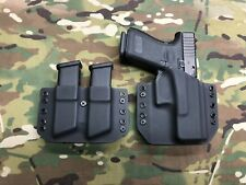 Black Kydex Holster for Glock 19 23 32  w/ Dual Mag Carrier