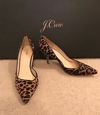 J.CREW COLETTE D'ORSAY PUMPS IN LEOPARD CALF HAIR SIZE 10M WALNUT BROWN F5532