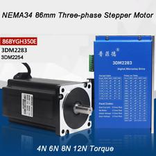 Nema 34 86mm Three Phase Stepper Motor Set 4n 6n 8n 12n Torque Microstep Driver