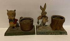 1940s Bugs Bunny with tree stump & Porky The Pig Cast iron Metal Pieces Looney