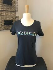 OAKLEY Jet Black Breakout Tee Logo Fitted Stretch T-Shirt Top SIZE S