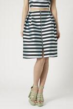 TOPSHOP Striped Satin Midi Pleated Zipper Blue Black Skirt Sz 8 NEW