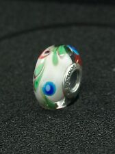 Pandora Sterling Silver Multi Color Feather Murano Glass Charm