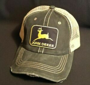 John Deere Mesh Trucker Hat John Deere Distressed with Mesh Ball Cap Khaki Mesh