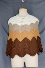 LORD & TAYLOR Crocheted Poncho Sweater SMALL Brown Gold Cream Pullover Chevron