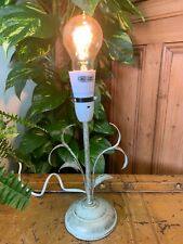 VINTAGE STYLE CREAM DISTRESSED METAL LEAF TABLE BEDSIDE LAMP BASE PAT TESTED