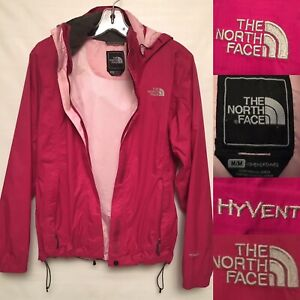 The North Face Hyvent Rain jacket Woman Pink Hoodie Size M Full Zip Light Weight