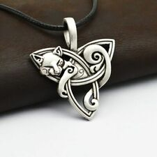 Vikings Amulet Triquetra Necklace Cat Pendant Stainless Steel Celtic Jewelry