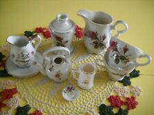 Vintage child's tea set Moss Rose 9 piece made in Japan Plate, Vase, Tea cups,