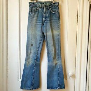 """Vintage Levis 646 Womens ORANGE TAB 1970s flare bellbottom jeans 24w 30"""" inseam"""