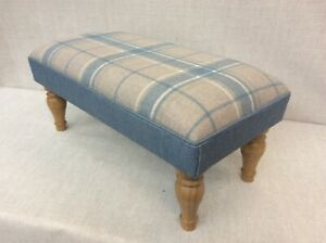Footstool upholstered in Laura Ashley sea spray