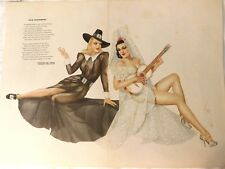 "Beautiful A. VARGA PIN-UP ART PRINT; ESQUIRE FULL SHEET GATEFOLD, 18.25"" x 13.5"""