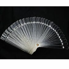 False Nail Art Tips Stick Polish Display Fan Practice Stand Tools 50PCS Clear