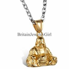 Fashion Mens Gold Tone Buddha Pendant Stainless Steel Silver Tone Chain Necklace