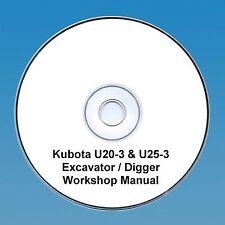 Kubota U20-3 & U25-3 Excavateur/Digger-Workshop Manual.