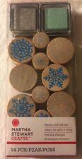 NEW Martha Stewart Crafts Wooden Stamp & Ink Set - Snowflakes - 14 pc set