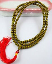 5mm Tibetan Buddhism 216 Green Wood Mala Necklace