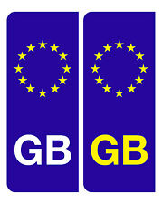 2 EURO GB BADGES NUMBER PLATE VINYL DECALS STICKERS FREE POSTAGE