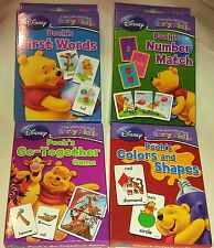 Disney Pooh & Friends Early Skills Reading Math Learn Flash Card Game 4 Pack New