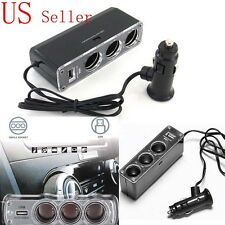 Triple 1 to 3 Sockets + USB Power Supply Car Charger 12v