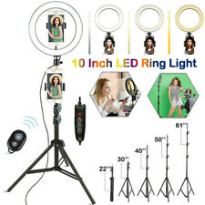 10'' Selfie Ring Light Tripod Stand & Dual Phone Holder Bluetooth Remote Control