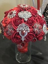 Red Two Tone Brooch Bouquet Extra Elaborate