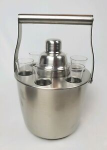 New Discontinued 8 Piece Pottery Barn Satin Cocktail Set Barware Man Cave Party