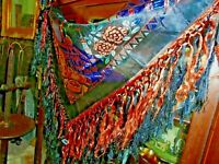 Vintage Taj Mahal  Piano Scarf Shawl Table Cloth Fringe Salmon and Black Blue