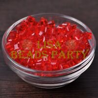 25pcs 6mm Cube Square Faceted Crystal Glass Loose Spacer Beads Red