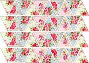 40/80 Edible Bunting Flags Vintage Shabby Chic Floral Icing Cake Cupcake Toppers