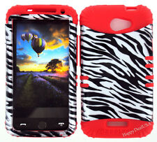 KoolKase Hybrid Silicone Cover Case for HTC One X S720e - Zebra Silver