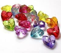 40 ACRYLIC FACETED HEART BEADS 12mm MIXED COLOURS TOP QUALITY ACR73