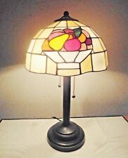 """LAMPS A FANCY TIFFANY STYLE 21""""H DUEL BULB STAIN-GLASS FRUIT DISPLAY TABLE LAMP"""